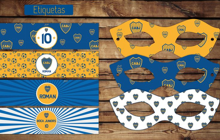 #Boca #Cumple #etiquetas para botellas #antifaces #kitimprimible #fiesta #imprimible