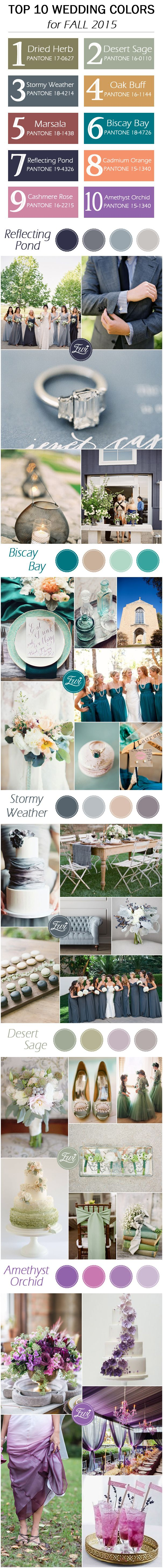 top 10 fall wedding color ideas 2015 released by Pantone