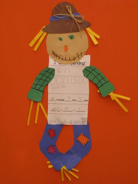 We finished our place value unit in math and made these scarecrows. This idea came from Bertha Acosta who has many great ideas and is a great addition to our second grade team. I used it as a quick