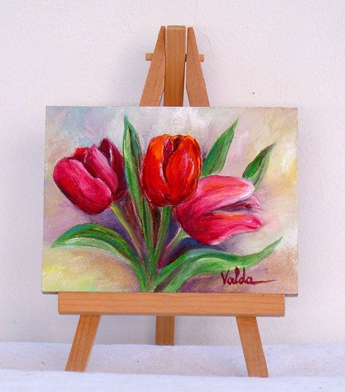 red tulips 3x4 original miniature oil painting, Christmas gift by valdasfineart on Etsy