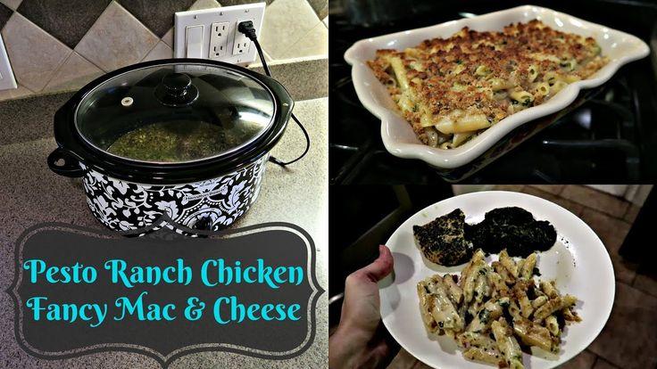 Pesto Ranch Chicken & Fancy Mac & Cheese | Crock Pot Meal