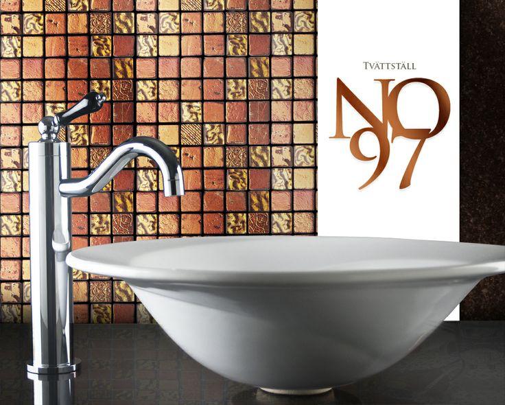 Tvättställ no97, 2,4x2,4 Veneto mosaik orange mix 1 och Tvättställsblandare no38.