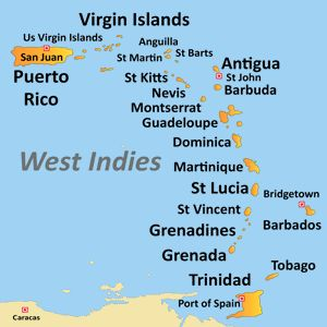 Map of Caribbean islands (West Indies)... Been to a few but there are others I would still like to see