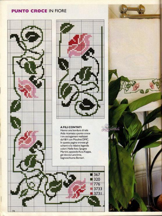Fiori rosa e foglie - Tovaglia