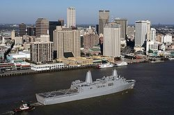 A view of the New Orleans Central Business District as seen from the Mississippi River. USS New Orleans (LPD-18) in foreground. (2007)