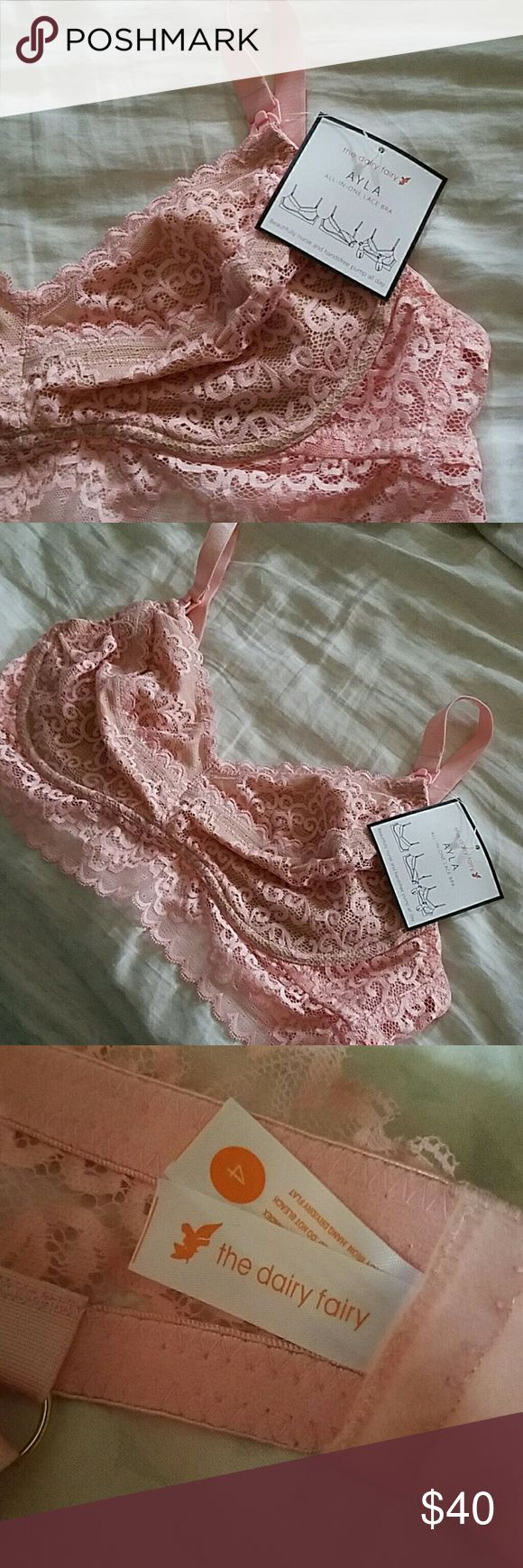 NWT Dairy Fairy Ayla Bra size 4 Brand new with tags ayla pink lace pumping/nursing bra from the dairy fairy. Size 4, they told me it fits about 36D/DD-38D/DD according to their size chart. The Dairy Fairy Intimates & Sleepwear