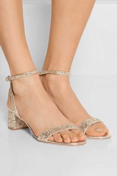 Heel measures approximately 45mm/ 2 inches Gold glittered leather Buckle-fastening ankle strap Made in Italy