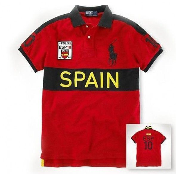 Ralph Lauren Big Pony SPAIN Flag Symbol Sleeve Red Polo http://www.