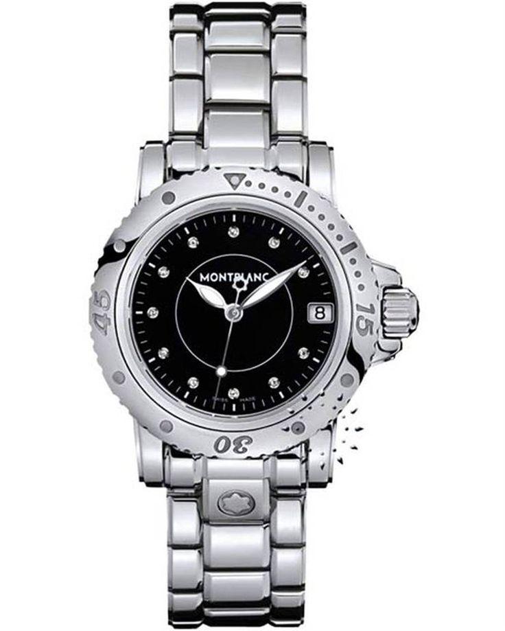 Από τη σειρά Sport του οίκου Montblanc ένα εντυπωσιακό γυναικείο ωρολόι από ανοξείδωτο ατσάλι με μαύρο καντράν που το διακοσμούν 11 διαμάντια στη θέση των σημείων.