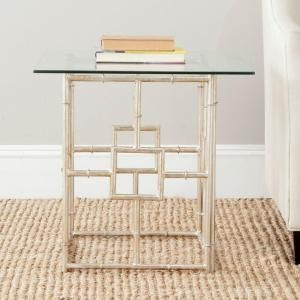 Dermot Silver Glass Top End Table