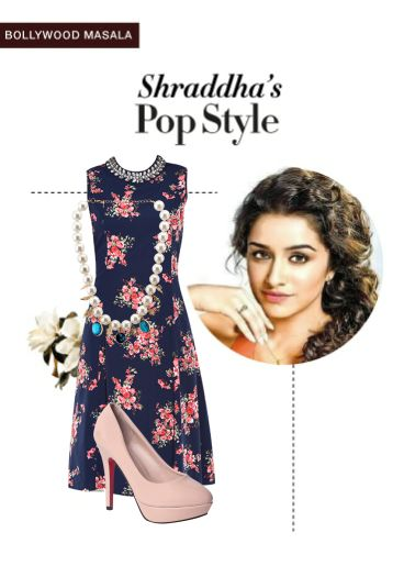 'Shraddha's pop style' by me on Limeroad featuring Florals Blue Dresses, Multi Color Necklaces with Beige Pumps