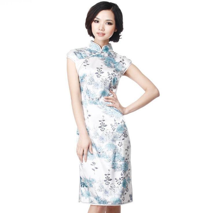 Silk Cheongsam Dress: Ice silk, sky blue & cap sleeve - #1 custom tailored cheongsam brand - ELEGENTE.com