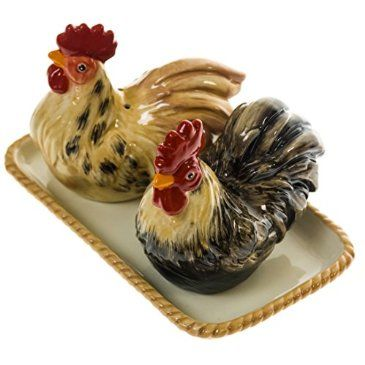 Black and Tan Earthenware Roosters Salt and Pepper Shakers http://shop.crackerbarrel.com/Black-Earthenware-Roosters-Pepper-Shakers/dp/B0167H9ARS