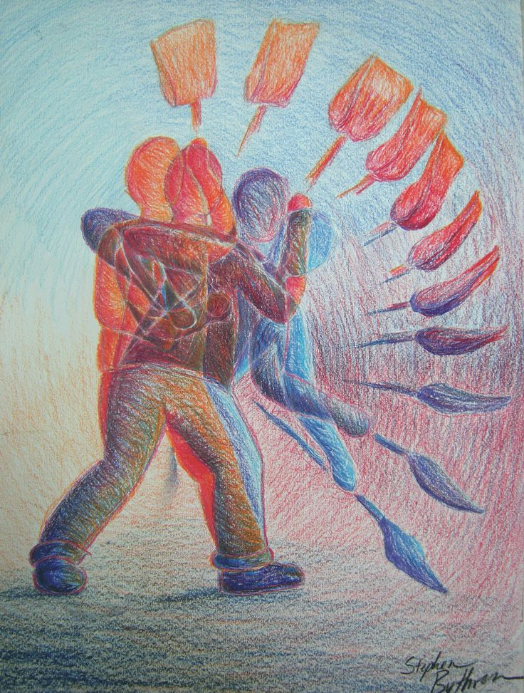 Movement. Art. This work of art shows the movement of the person as they shovel.