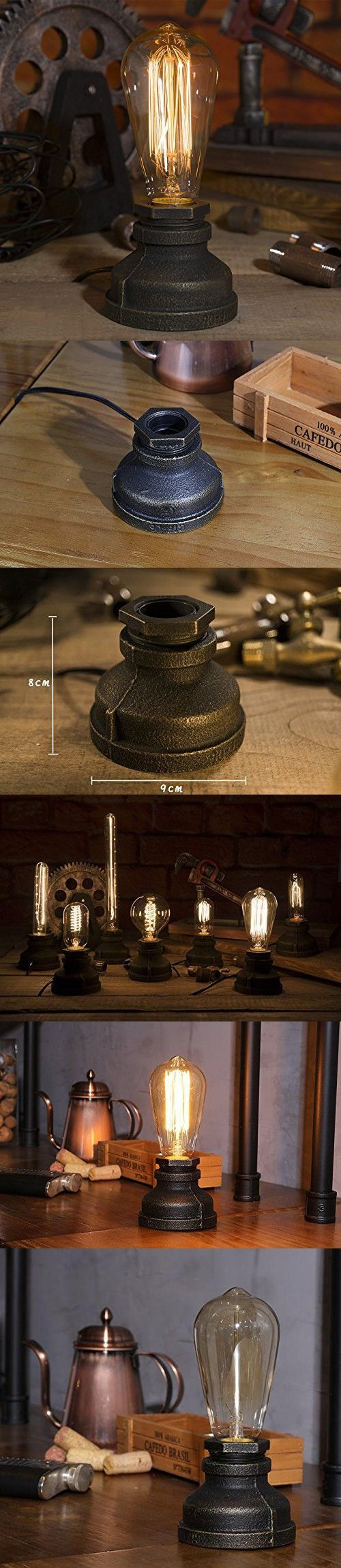 Injuicy Lighting Loft Vintage Retro Industrial Wrought Iron Metal Steampunk Water Pipe Table Lights Base Antique E27 Edison Piping Desk Accent Lamps for Bedroom Bedside Living Rooms Cafe Bar Decor