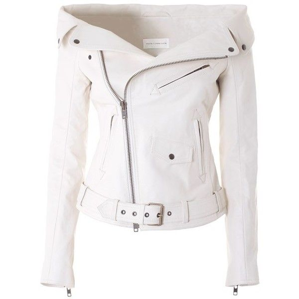 FAITH CONNEXION  Sailor leather jacket (6.375 BRL) ❤ liked on Polyvore featuring outerwear, jackets, coats, white, lined jacket, 100 leather jacket, belted jacket, leather jacket and white leather jacket