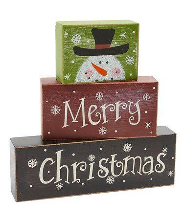 Look at this #zulilyfind! 'Merry Christmas' Block Sign #zulilyfinds