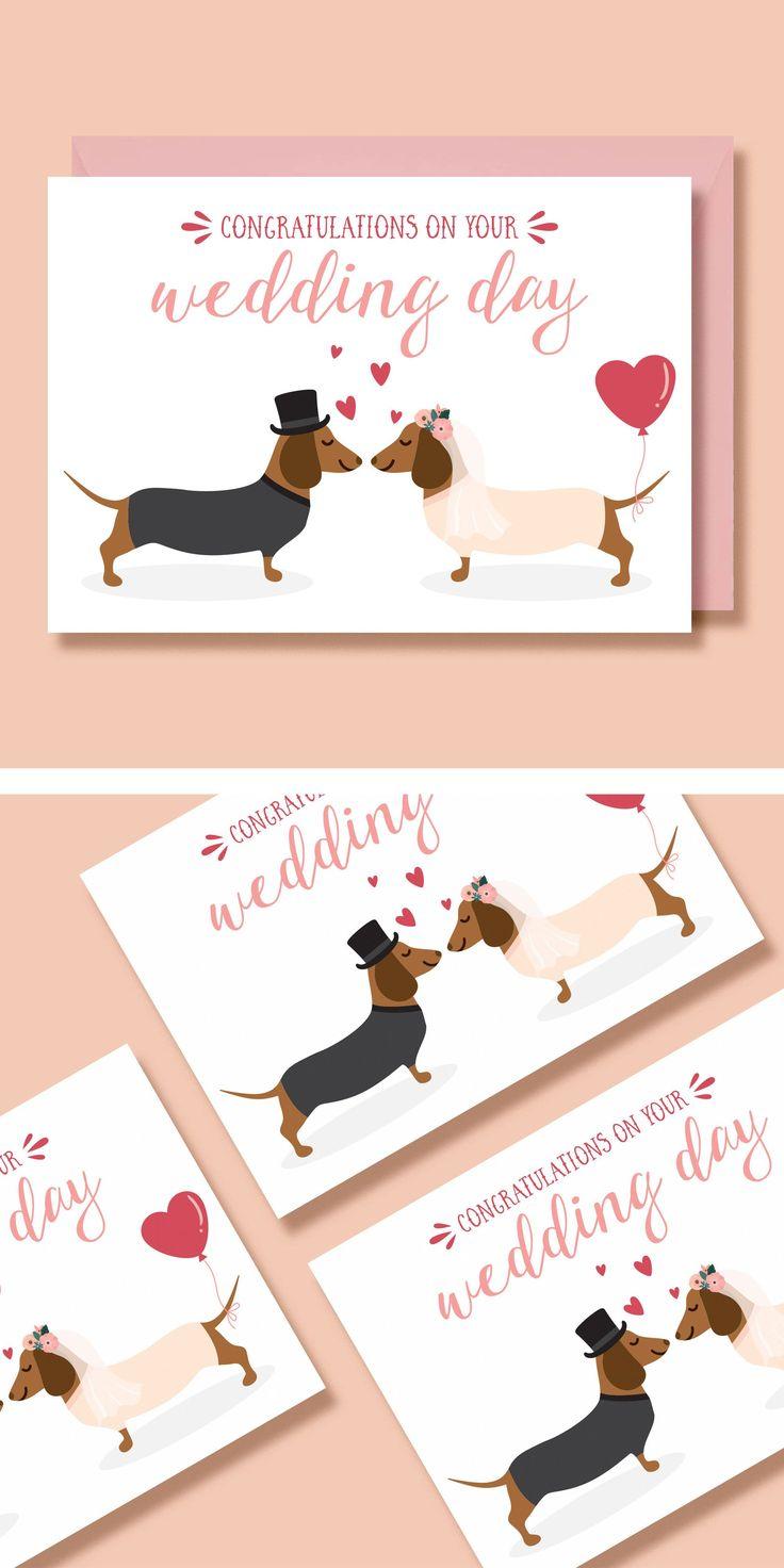 Dachshund wedding card sausage dog wedding card mr and
