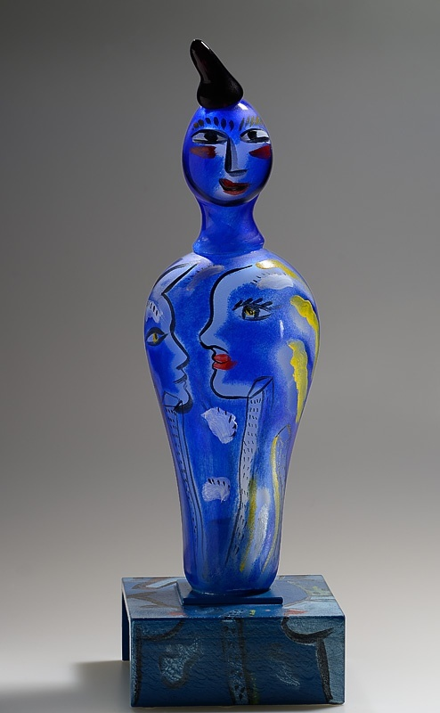 "Ulrica Hydman Vallien (Swedish), Kosta Boda, ""Lover Boy"" Painted Glass Sculpture."