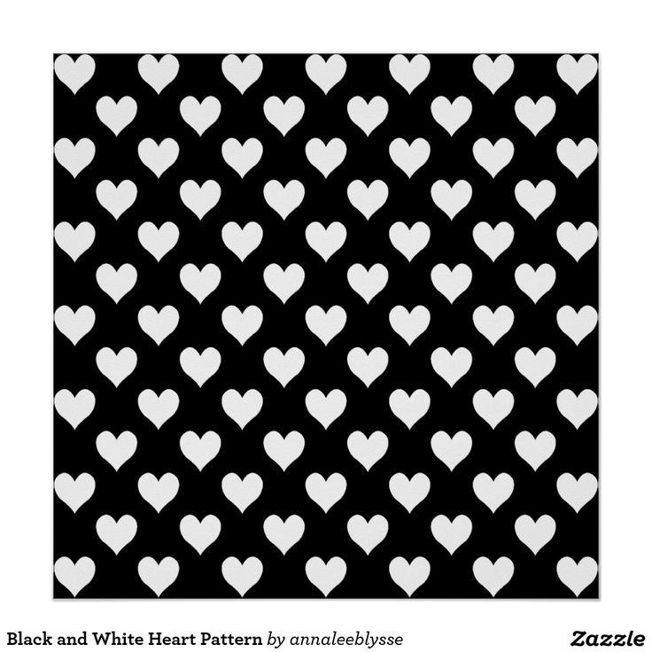 Teste padrão preto e branco do coração poster