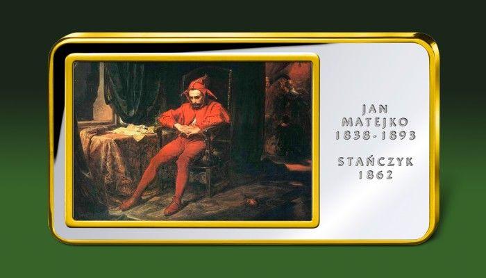 Stańczyk Jana Matejki na sztabce kolekcjonerskiej platerowanej czystym srebrem i złotem