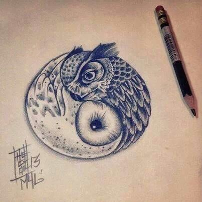 tattoos for women owl ying yang - Google Search
