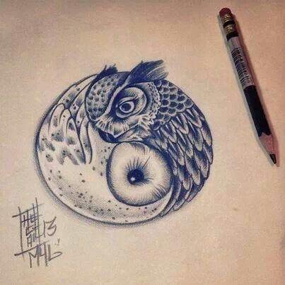 tattoos for women owl ying yang - Google Search