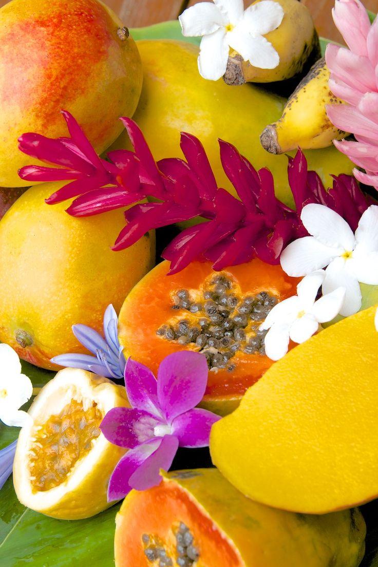 Hawaiian tropical fruits & flowers