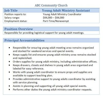young adults ministry assistant job description - Church Administrative Assistant Salary