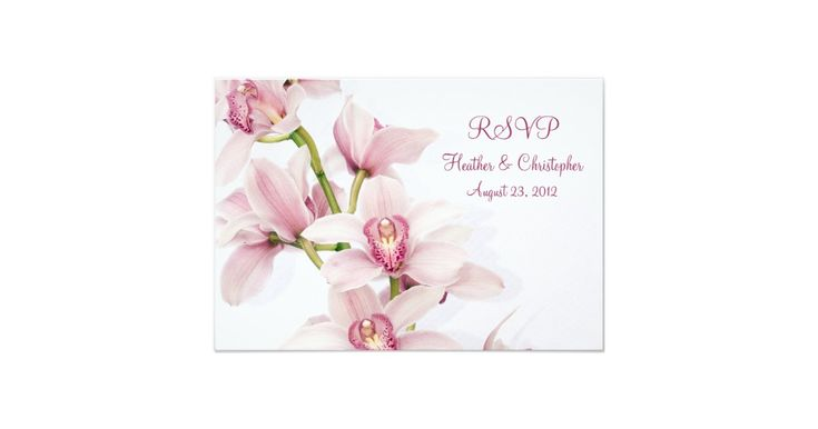 Pink cymbidium orchid floral wedding reply RSVP card. Cymbidium orchids are beautiful flowers and popular with weddings. They are elegant and classic and work well for a spring or summer wedding. This invitation has customizable text. To change the text, use the personalize options. For more extensive text changes, such as changes to the font, font color, font size, and/or text placement, click on customize it. Although it is currently customized as a wedding reply card, it could also be...