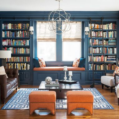 Pine Library - transitional - living room - new york - Cory Connor Designs