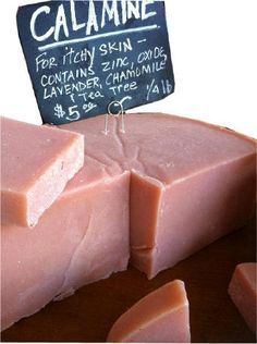 Calamine Soap for Itchy Skin - Make your own. The main ingredient in calamine lotion and is used as an anti-itching agent to treat mild skin conditions such as sunburn, eczema, rashes, poison ivy, chickenpox, and insect bites and stings. THE PONTE VEDRA SOAP SHOPPE - PVSOAP.COM | Aromatherapy and Soapmaking Supplies.