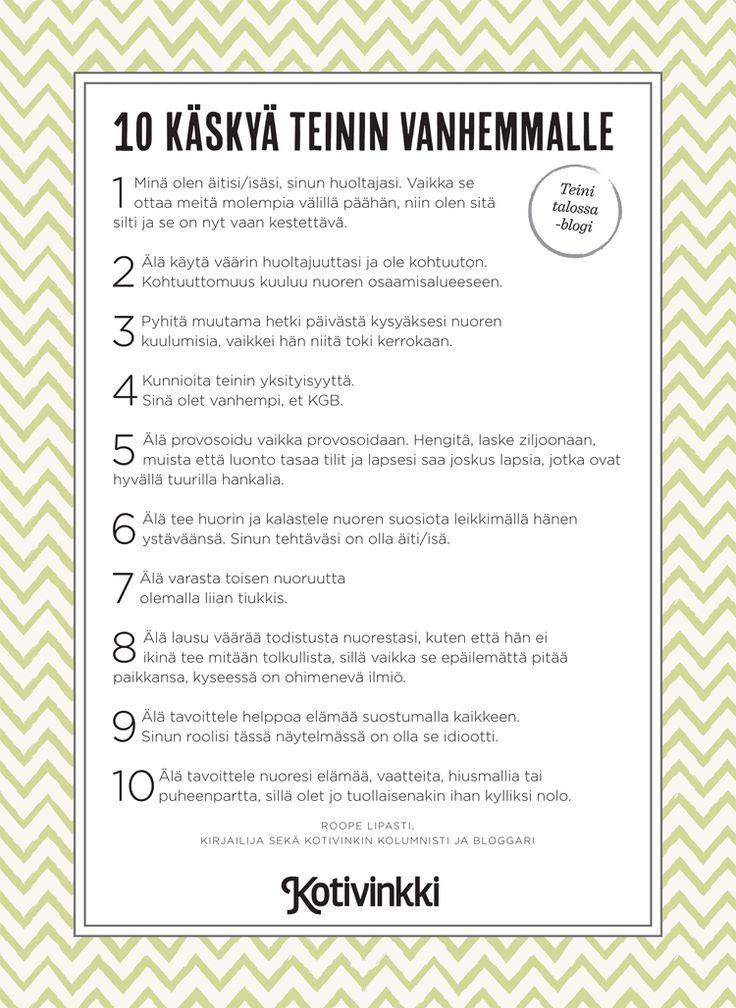 10 käskyä teinin vanhemmalle – tulostettava versio | Kotivinkki