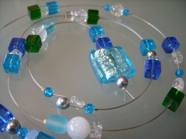 "Deko-Kette / Fensterkette ""Aqua"" Glas ca. 103cm von TI PIACE... das gefällt Dir auf DaWanda.com"