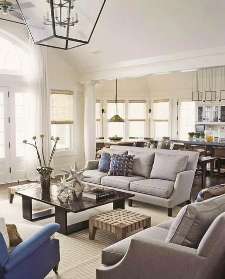 Thom Filicia neutral grey living room with pops of blue