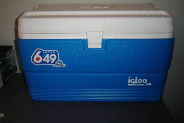 Vinyl mount (649 logo) on a hard shell cooler.