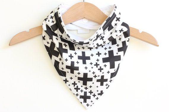 Organic Cotton Baby Bandana Bib  Crosses Black on White  by raenne, $14.00