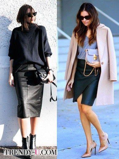 Кожаные юбки-карандаш для эффектных образов