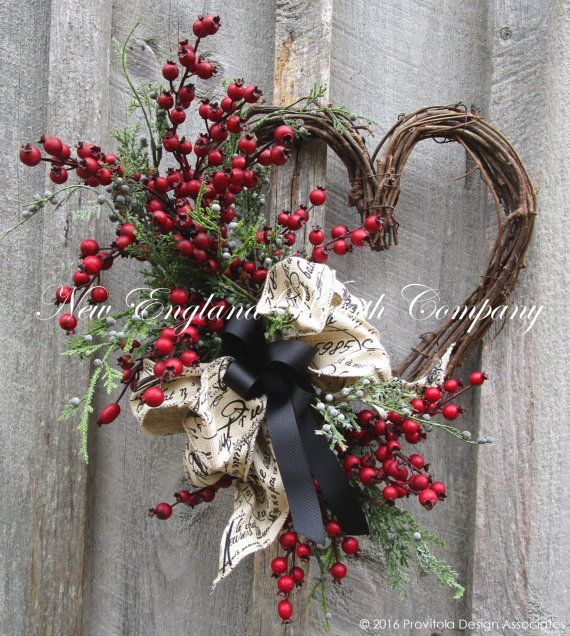 Valentine's Wreath, Heart Wreath, Designer Wreath, Country French Wreath, Cottage Decor, Rustic Wedding