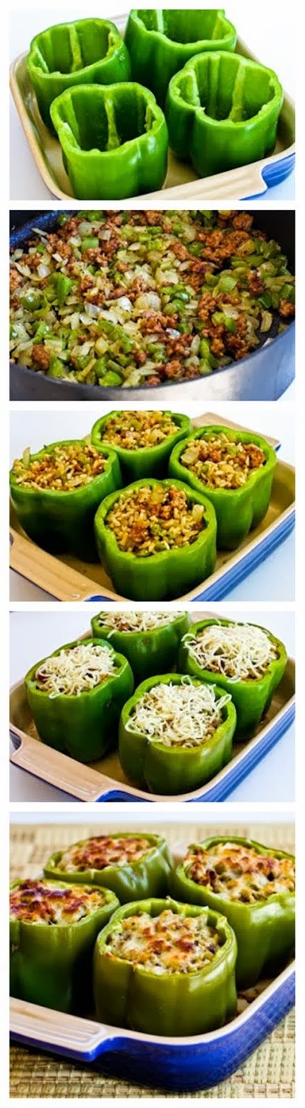 Stuffed Green Peppers with Brown Rice, Italian Sausage, and Parmesan ...