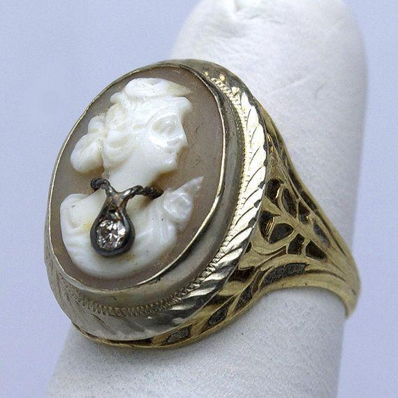 Vintage 14K En Habille Filigree Cameo Ring by JMPierceJewelry http://www.allthingsvogue.com/best-luxury-gold-bracelets/