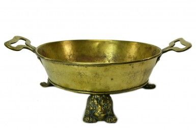 Brass Serving Pan on Lion Feet, Antique Italian or French, 18th Century