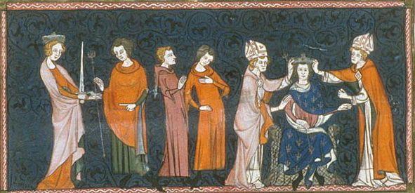 Miniature of Louis II le Bègue receiving the sword and sceptre from Richilda (left), and his coronation (right) (British Library, Royal 16 G VI f.237v).- 1) CONCILE DE TROYES (878): Ce concile se tient en aout 878 pour examiner le cas de BERNARD DE GOTHIE qui a usurpé des biens de l'Eglise et qui est en conflit avec FROTAIRE et en révolte contre LOUIS LE BEGUE. Le pape JEAN VIII, chassé à la fois par les Sarrasins et les clercs romains, était venu en Francie occidentale, demande de l'aide.