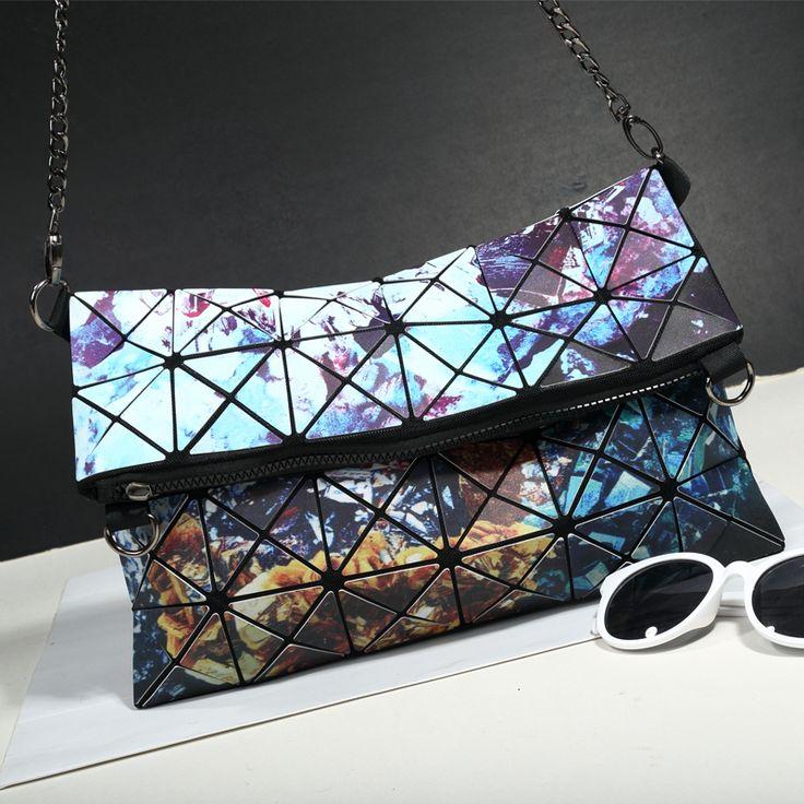 Bolsas Desenhos Geométricas Holográficas com Alça de Corrente Bolsas Divertidas