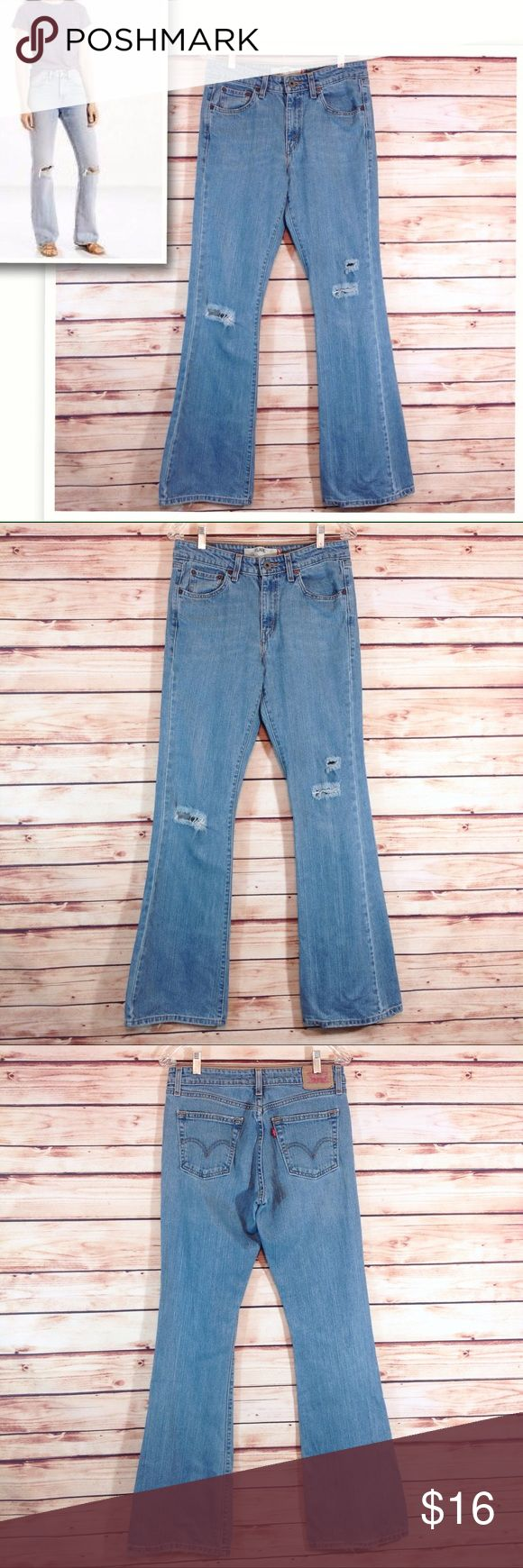 "Levi's 519 Distressed Flare Jean Sz 9 EUC Excellent condition! EUC. Levi's 519 distressed flare jean. Size 9 Long. Waist 15"" across flat. Inseam 33"".   🔹Please ask all your questions before you purchase!  🔹Sorry, no trades or holds. 🔹Bundle for your best prices! Levi's Jeans Flare & Wide Leg"