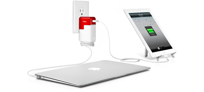 PlugBug is a 10W USB wall charger that piggybacks onto your MacBook Power Adapter, creating a totally unique, all-in-one, dual charger for MacBook + iPad or iPhone.