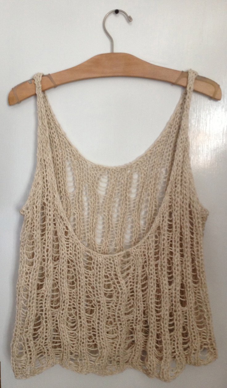 (BACK) Hand knit tank. Raw silk and wool yarn. Rib, drop stitch pattern. http://deathandpolyester.tumblr.com