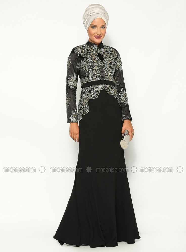 Laced Evening Dress - Black - Muslim Evening Dresses - Modanisa