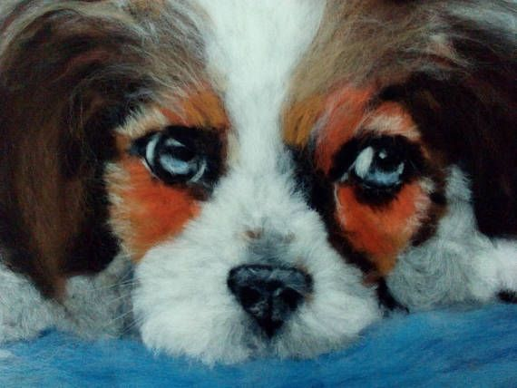 Dog Portrait Wool Watercolor Painting with frame Painting