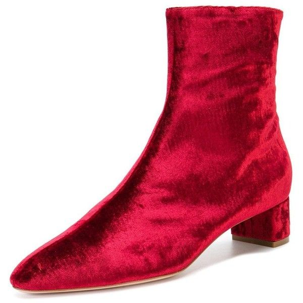 FSJ Women Versatile Mid Heels Ankle Boots with Side Zipper Pointed Toe... ($49) ❤ liked on Polyvore featuring shoes, boots, ankle booties, wide ankle boots, velvet ankle boots, ankle boots, velvet booties and short boots